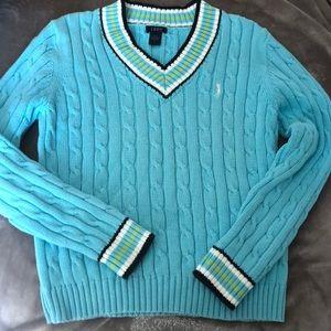IZOD L Cotton Knit Turquoise Blue Golf Sweater